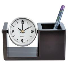 Universal Executive Desk Clock, Brushed Nickel/Dark Cappuccino