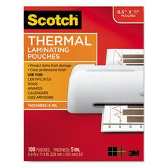 Scotch Letter Size Thermal Laminating Pouches, 5 mil, 11 1/2 x 9, 100/Pack