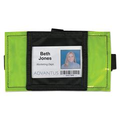 Advantus Reflective Arm Badge Holder, 3 1/2 x 3 1/2, Green/Black, 6 per Box