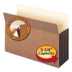 """5 1/4"""" Exp File Pocket, Straight Tab, Legal, Manila/Redrope, 10/Bx"""