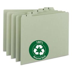 Recycled Top Tab File Guides, Daily, 1/5 Tab, Pressboard, Letter, 31/Set
