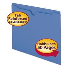 Colored File Jackets w/Reinforced 2-Ply Tab, Letter, 11pt, Blue, 100/Box