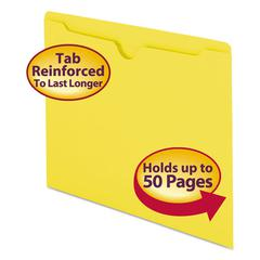 Colored File Jackets w/Reinforced 2-Ply Tab, Letter, 11pt, Yellow, 100/Box