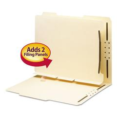 Smead Manila Self-Adhesive Folder Dividers w/2-Prong Fastener, 2-Sect, Letter, 25/Pack