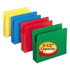 Exp File Pockets, Straight Tab, Poly, Letter, Assorted, 4/Box