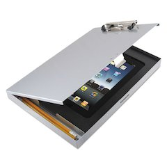 Tuffwriter Recycled Aluminum Storage Clipboard for iPad 2/3, 8 1/2 x 12, Silver