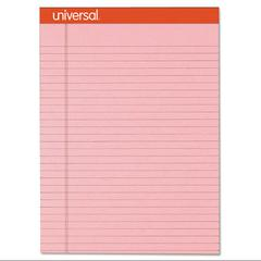 Universal Fashion Colored Perforated Note Pads, 8 1/2 x 11 3/4, Legal, Pink, 50 Shts, 6/PK