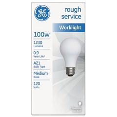 GE Rough Service Incandescent Worklight Bulb, A21, 100 W, 1230 lm
