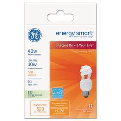 GE Energy Smart Compact Fluorescent Spiral Light Bulb, 10 Watt, Soft White,2/Pack