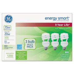 GE Energy Smart Compact Fluorescent Spiral Light Bulb, 20 W, Soft White, 3/Pack
