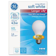 GE Energy-Efficient Halogen Bulb, A19, 43 W, Soft White