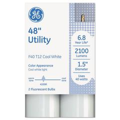 "GE T12 Fluorescent Utility Bulb, 40 Watts, 48"" x 1.6"", Cool White, 18/Carton"