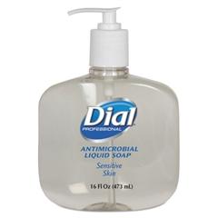 Dial Professional Antimicrobial Soap for Sensitive Skin, 16oz Pump Bottle, 12/Carton