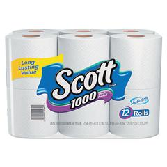 Toilet Paper, 1-Ply, 1000 Sheets/Roll, 12 Rolls/Pack, 4 Pack/Carton