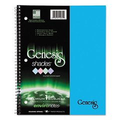 One Subject Genesis Shades Notebook, 11 x 8 1/2, College Rule, Blue, 34 Sheets