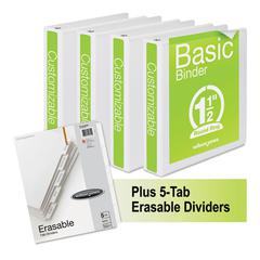 "Wilson Jones Basic Round-Ring View Binder Plus Pack, 1 1/2"" Cap, White, 4/Carton"