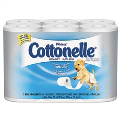 Cottonelle Ultra Soft Bath Tissue, 1-Ply, 165 Sheets/Roll, 12/Pack