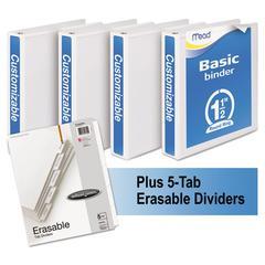 "Economy Round-Ring View Binder Plus Pack, 1 1/2"" Cap, White, 4/Carton"