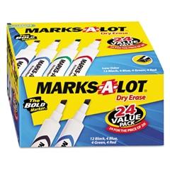 Marks-A-Lot Desk-Style Dry Erase Marker, Chisel Tip, Assorted, 24/Pack