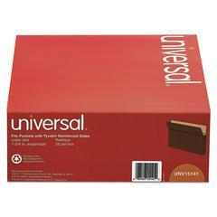 Universal 1 3/4 Inch Expanding File Pockets, Straight Tab, Letter, Redrope/Manila, 25/Box