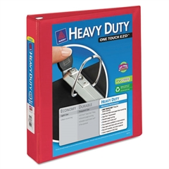 "Avery Heavy-Duty View Binder w/Locking 1-Touch EZD Rings, 1 1/2"" Cap, Red"
