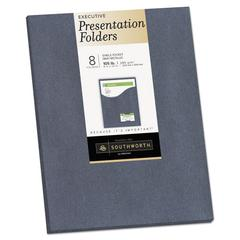 One-Pocket Presentation Folders, 8 1/2 x 11, Gray Metallic, 8/Pack