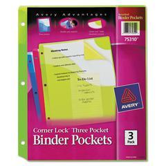 Corner Lock Three-Pocket Binder Pocket, 11 1/4 x 9 1/4, Assorted Color, 3/Pack