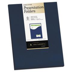 One-Pocket Presentation Folders, 8 1/2 x 11, Navy, 8/Pack