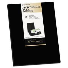 Two-Pocket Presentation Folders, 8 1/2 x 11, Black, 8/Pack