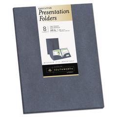 Two-Pocket Presentation Folders, 8 1/2 x 11, Gray Metallic, 8/Pack