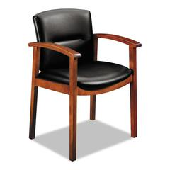 5000 Series Park Avenue Collection Guest Chair, Black Leather/Henna Cherry