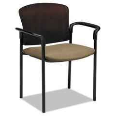 HON Pagoda 4091 Series Guest Chair, Mahogany Wood Back/Taupe Fabric Seat, 2/Carton