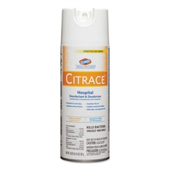 Citrace Hospital Disinfectant & Deodorizer, Citrus, 14oz Aerosol, 12/Carton