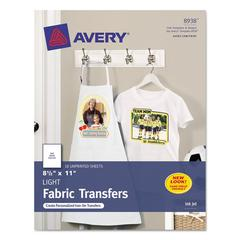 Avery Light Fabric Transfers for Inkjet Printers, 8 1/2 x 11, White, 18/Pack