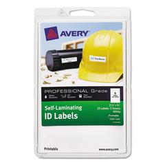 Avery Self-Laminating ID Labels, Laser/Inkjet, 4 x 6 Sheet, 3/4 x 3 1/4, White, 25/PK