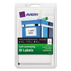 Self-Laminating ID Labels, 4 x 6 Sheet, 5 3/4 x 3 3/4, White/Gray, 4/PK