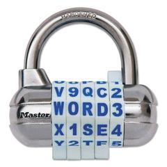 "Master Lock Password Plus Combination Lock, Hardened Steel Shackle, 2 1/2"" Wide, Silver"