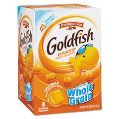 Pepperidge Farm Goldfish Crackers, Baked Cheddar, 19 oz Resealable Bag, 3 Bag/Box