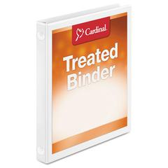 "Cardinal Treated Binder ClearVue Locking Round Ring Binder, 5/8"" Cap, 11 x 8 1/2, White"