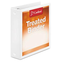 "Cardinal Treated Binder ClearVue Locking Round Ring Binder, 2"" Cap, 11 x 8 1/2, White"