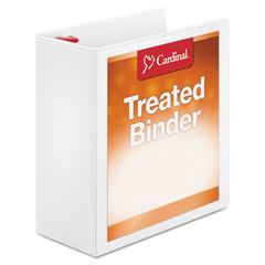 "Treated Binder ClearVue Locking Slant-D Ring Binder, 4"" Cap, 11 x 8 1/2, White"