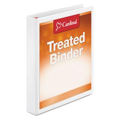 "Treated Binder ClearVue Locking Slant-D Ring Binder, 1"" Cap, 11 x 8 1/2, White"