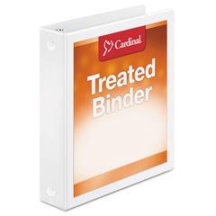 """Cardinal Treated Binder ClearVue Locking Round Ring Binder, 1 1/2"""" Cap, 11 x 8 1/2, White"""