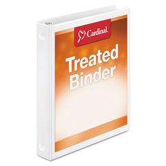 "Cardinal Treated Binder ClearVue Locking Round Ring Binder, 1"" Cap, 11 x 8 1/2, White"