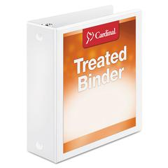 "Treated Binder ClearVue Locking Round Ring Binder, 3"" Cap, 11 x 8 1/2, White"