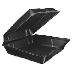 Dart Foam Hinged Lid Container, 9.3w x 3h x 3d, Black, 200/Carton