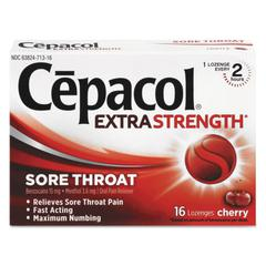 Extra Strength Sore Throat Lozenge, Cherry, 16/Box