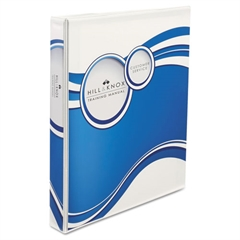 "Designer View Binder w/Slant Rings, 1"" Cap, White/Blue Circle"