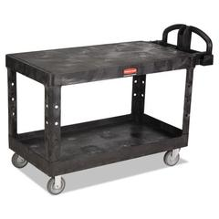 Heavy-Duty 2-Shelf Utility Cart, TPR Casters, 25-1/4w x 54d x 36h, Black