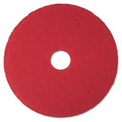 "Low-Speed Buffer Floor Pads 5100, 17"" Diameter, Red, 5/Carton"